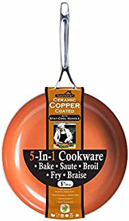Euro-Home8 Inches Copper Frying Pan - Ceramic Coated Aluminium Non Stick Fry Pans with Stainless Steel Handle