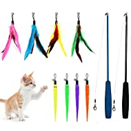 NASHRIO Cat Feather Toys, 2 Interactive Retractable Cat Teaser Wand with 8 Refills with Bells and Fe...
