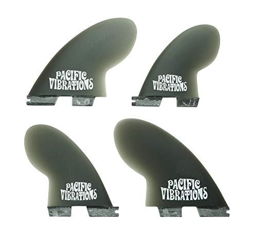 PACIFIC VIBRATIONS FCS 2 FCSII Base Compressor Surfboard 4 Quad fins Set Fiberglass Resin Smoke