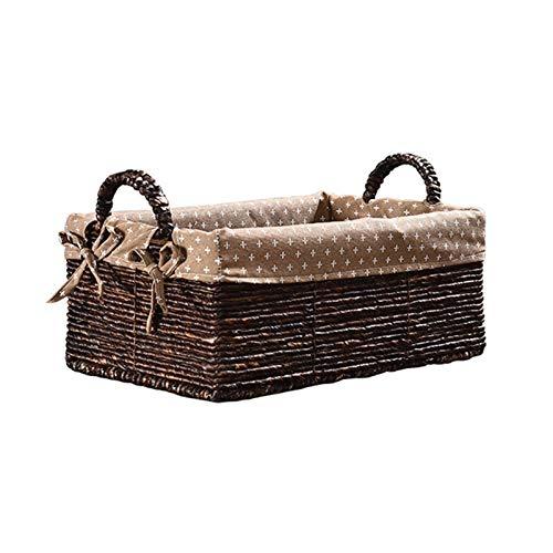 Cesta de almacenamiento de ratán para escritorio, cesta de acabado de escritorio, cesta tejida a mano, cesta de paja con asa (tamaño: pequeño)