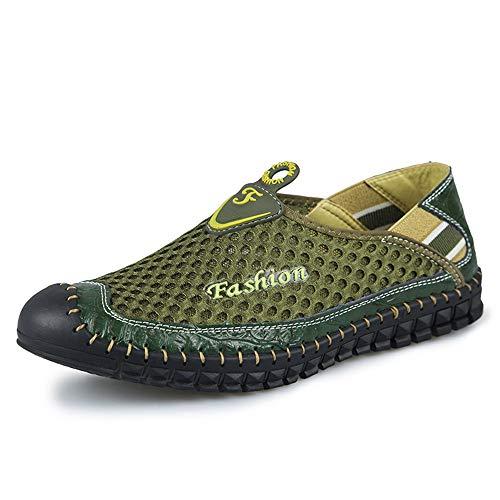 SHENTIANWEI Sommer atmungsaktives Mesh-Sneakers for Männer Leichte Outdoor-Sportschuhe Gefüttert Anti-Rutsch-Flat Kollisionsvermeidung Round Close Toe Slip-on (Color : Grün, Größe : 44 EU)