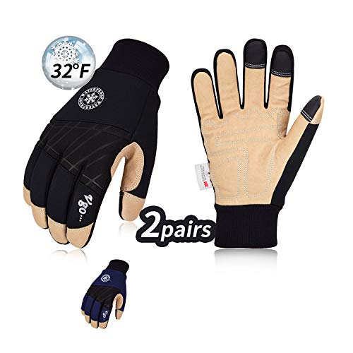 Vgo 2-Pairs 32℉ or above 3M Thinsulate C40 Lined Winter Premium Pigskin Leather Waterproof Work Gloves (Size M, Black & Dark Blue, PA1015FW)