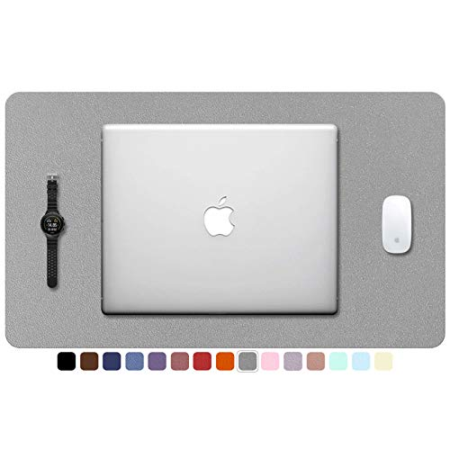 """TOWWI PU Leather Desk Pad with Suede Base, Multi-Color Non-Slip Mouse Pad, 24"""" x 14"""" Waterproof Desk Writing Mat, Large Desk Blotter Protector (Gray)"""