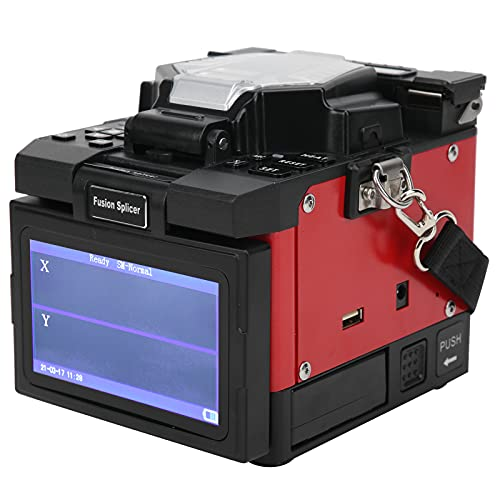 Empalmador de fibra por fusión con pantalla LCD digital Juego de empalmador por fusión Máquina FTTH Componentes industriales X-97 AC100‑240V(EU Plug)