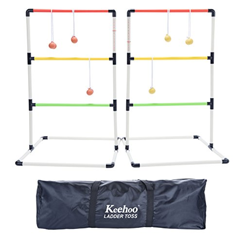 Indoor/Outdoor Ladder Ball Toss Game Set Family Yard Beach BBQ Games for Adults Kids
