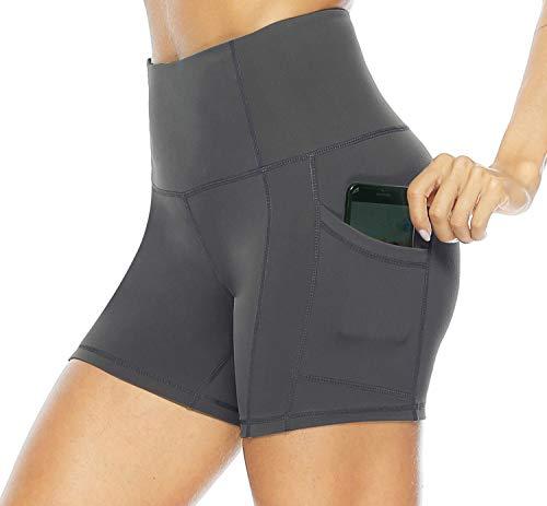 Persit Sporthose Damen Kurz Radlerhose - Sport Leggins Yoga Shorts Sommer Kurze Leggings Laufhose Grau-M