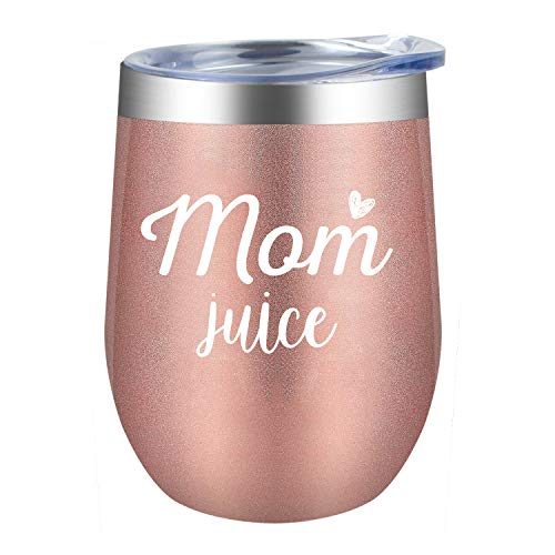 Mom Juice|Supkiir 12 oz Wine Tumbler, Double Wall Vacuum Insulated Wine Glasses with Lid, Stainless Steel Cup for Wine,Coffee,Cocktails|Perfect Mother's Day, Christmas Gift