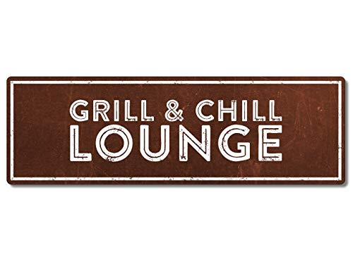 Interluxe Metallschild - Grill & Chill Lounge Rost - wetterfestes Schild für den Grill, Geschenk oder Deko zur Grillparty