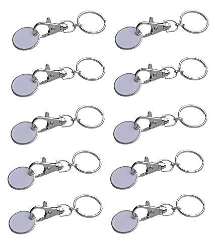 10x Metall Schlüsselanhänger mit Einkaufschip