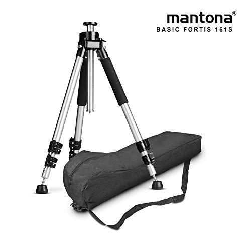 Mantona Basic Fortis 161S - Treppiede per fotocamera in alluminio molto resistente, senza testa a sfera, altezza da 35 a 161 cm, portata 10 kg, peso 3,02 kg, stabile e funzionale, con custodia