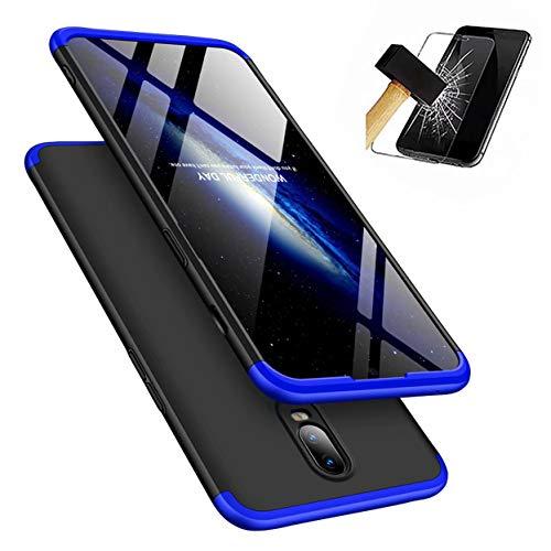 Funda OnePlus 6 360°Caja Caso + Vidrio Templado Laixin 3 in 1 Carcasa Todo Incluido Anti-Scratch Protectora de teléfono Case Cover para OnePlus 6 (Azul Negro)