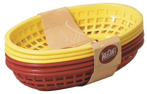 Tablecraft 6 Piece Assorted Sandwich & Fry Basket Set, 9', Red & Yellow