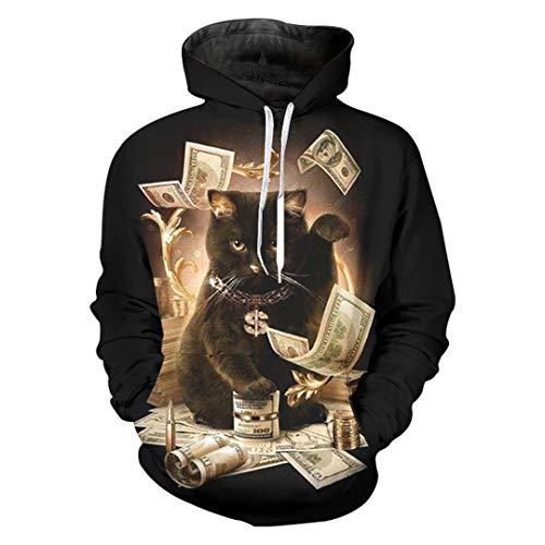 W-WORDEW Tier Hoodies Schwarz AnküNfte MäNner Dollar Katze Gedruckt 3D Sweatshirts Casual Crewneck Pullover Pullover Dollars Cat XL