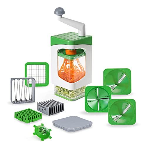 Genius Nicer Dicer Julietti - Cortador en espiral, 13 piezas, Zoodle Maker + cortador de dados en un juego para espirales y dados, incluye 7 accesorios de corte y recipiente de recogida de 1200 ml