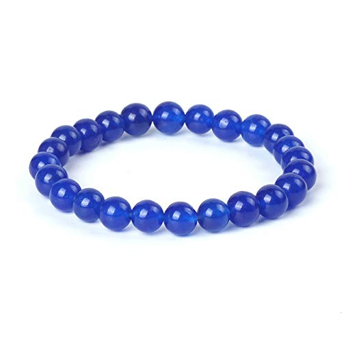 Inveroo Azul Jade Piedra Cuentas Pulsera Encantos Jasper Pulsera Joyería De La Amistad 8Mm Perlas De Cuarzo Suelto para La Oración Musulmana Brazaletes Mujeres 19Cm