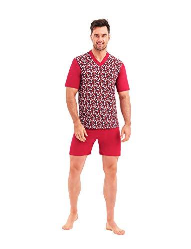 Big Size - Pyjamas für Herren 100% Katoenen - Grote Pyjama's voor de Lente/Zomer - Mannen Pyjamaset T-shirt + Korte Broek - Nachtkleding Grote Maten 3XL 4XL 5XL 6XL