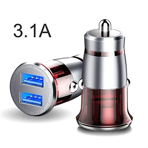 FJW 3.1A Double Port Mini Chargeur de Voiture USB Charge Intelligente pour Voiture 12V-24V pour iPhone XS/XR / XS Max / 8/8 Plus, Galaxy S9 / S8 / Note 8 et Plus,Silver