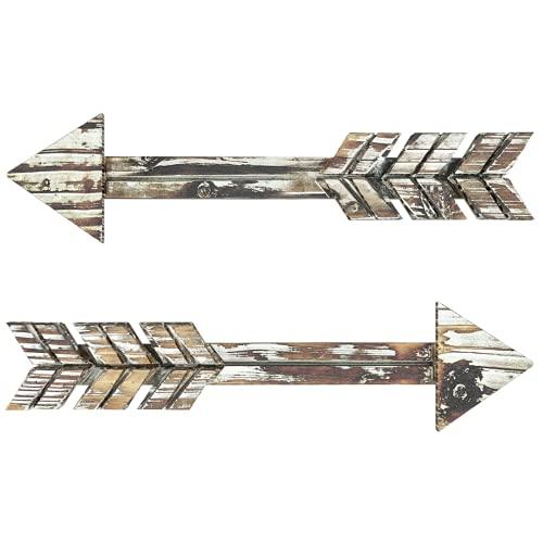 """TreasuresDeck Wooden Arrow Wall Decor - Set of 2 ExtraLarge 16.7"""" x 2.5"""" Arrow Home Decor- Rustic Wall Decor Arrow, Fir Wood Arrows Farmhouse arrow decorations"""