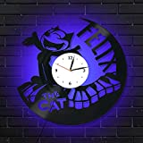 Levescale Felix The Cat Lighted Vinyl Wall Clock Cat - Perfect Cartoon Gift for Boy, Girl, Child - Decoration for Play Room, Kids Room, Kitchen - Funko Pets Black and White Kids (Blue)