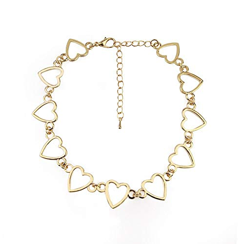 Boho vintage Heart Shape Choker Necklace For Women Girl Fashion Gold Silver Color Hollow Peach Heart Chain Barbed Wire Necklace