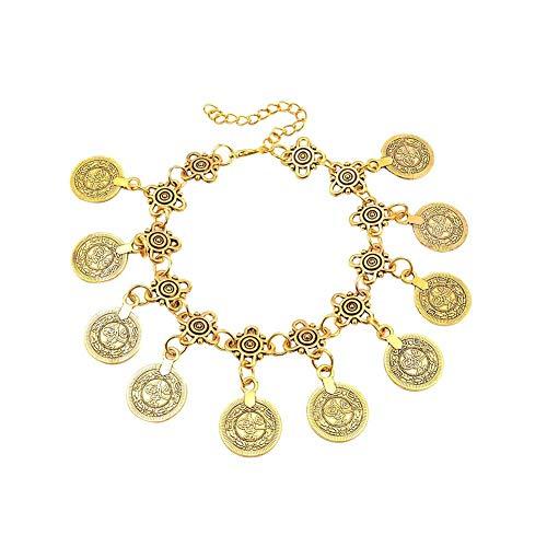 XQxiqi689sy - Pulsera de brazo vintage tallada con monedas y encanto ajustable, cadena de muñeca, pulsera Circlet joyas regalo Golden