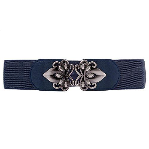 CHIC DIARY Damen Vintage Breiter Gürtel Metall Haken schnalle stretch elastisch Taille Taillengürtel Hüftgürtel Kleidgürtel Ledergürtel waist Belt
