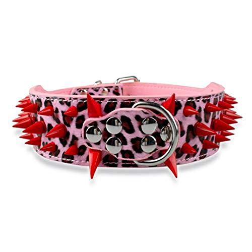 N-brand Collares de perro grandes collares para mascotas con remaches de cuero de 5 cm de ancho, ajustable adecuado para boxeadores de perros medianos y grandes, S M, L XL