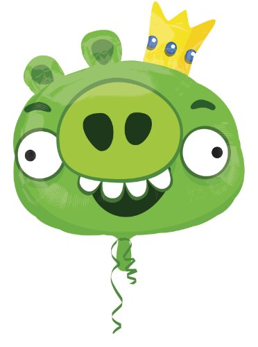 Anagram 2481101 - Folienballon Super Shape - Angry Birds - Schwein, ca. 58 x 51 cm, grün