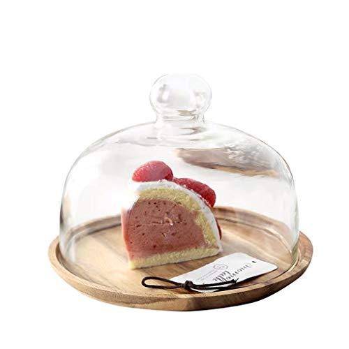 XZG-Tableware Kuchen Dome, Holzpalette Küche Käseplatte Abdeckung Dessert Früchtebrot Teller Käse-Platte Abdeckungen Chip & Dip Server (Color : Khaki, Size : 20.3 * 20.3 * 15.5CM)