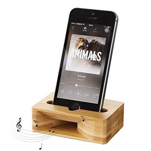 BETTERLE Soporte de madera para teléfono móvil de madera de bambú Soporte de trompeta con amplificador de sonido Natural Bamboo Stands altavoz para iPhone teléfonos Android dentro de 5.5 pulgadas