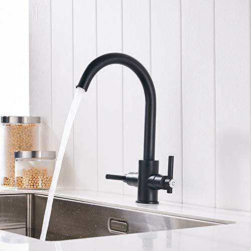 BFLO Kraan Zwarte kleur Keukenkranen Dubbele handen Ronde wastafels Wandkranen Dubbelgatmengkraan Waterkraan