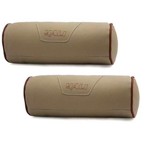 DealMux Cilindro Diseño Cierre de Cremallera de Cuero de imitación Banda elástica Almohada Resto del Cuello del Soporte del Amortiguador Beige para el Coche