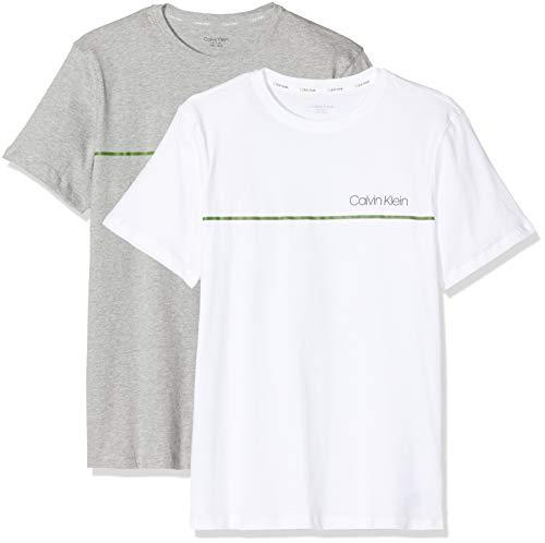 Calvin Klein 2pk Tees Ropa Interior técnica, Gris (1greyheather/1white1 0iy), 128 (Talla del Fabricante: 8-10) (Pack de 2) para Niños