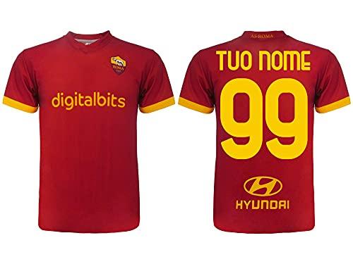 vestipassioni Maglia AS Roma Ufficiale Personalizzata con Nome e Numero Disponibile Anche per Bambini (S)