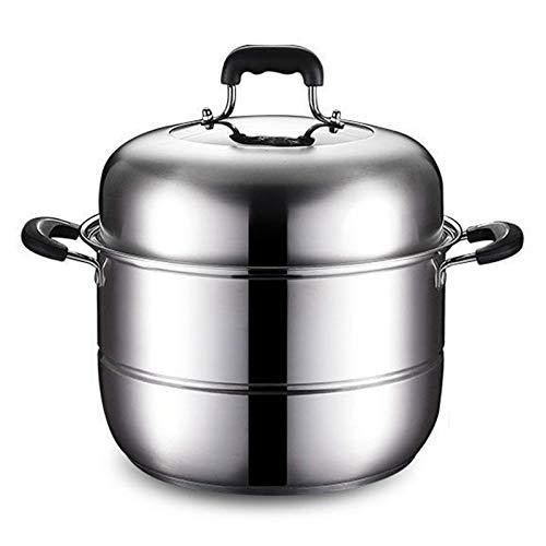Potador de vapor, maceta de acero inoxidable Juego de ollas de cocción Vaporización de vaporización de vaporización de vapor de vapor, con manijas, bandeja de cocina de inducción para cocinar de cocin