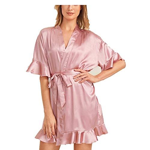 Bata kimono para mujer, camisón de seda sintética, cuello en V, impresión suave, color rosa, XL