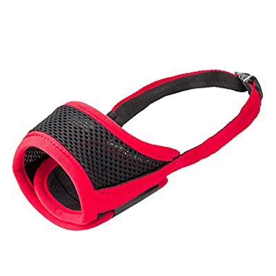 IREENUO Dog Muzzle to Prevent Biting Barking and Chewing with Adjustable Loop Breathable Mesh Soft Fabric - XL, Red