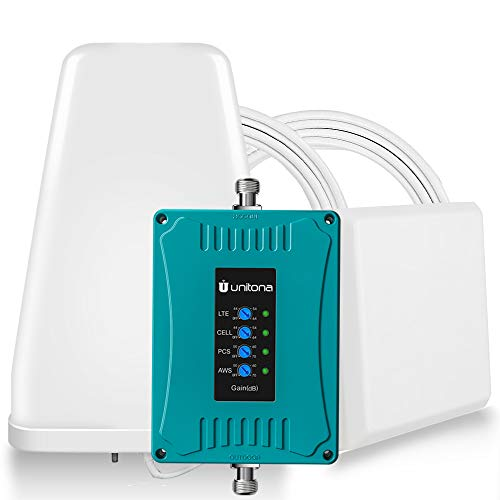 Cell Phone Signal Booster 4G LTE for Home Office/ 5 Bands Support All Phones&Carriers-Verizon,AT&T,Sprint,T-Mobile/Boosts LTE CDMA GSM Data&Voice Signals on Band 2/4/5/12/13/17 with High Gain Antenna