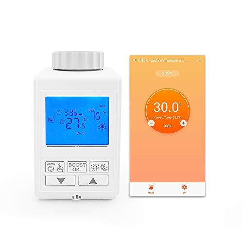 aixi-SHS ZigBee Smart Heizkörper Thermostat Temperaturregelung LED Bildschirmanzeige Kompatibel mit Amazon Alexa/Google Home - Smart Life APP Steuerung (Brauchen a ZigBee-Gateway, nicht enthalten)