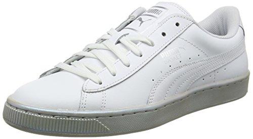 Puma Basket Classic Pearl, Zapatillas Unisex Adulto, Blanco White-Silver 01, 39 EU