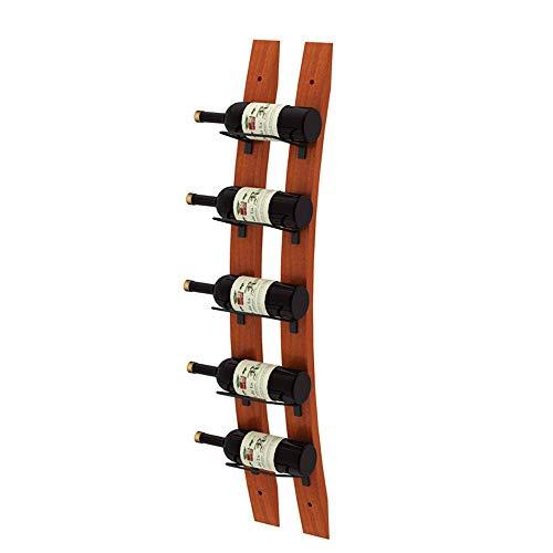 Mesita de noche Entusiasta del vino Barrel Stave Wall Wine Rack tiene capacidad para 5 botellas de su vino favorito Almacenamiento elegante Mesita Auxiliar para el ( Color : Wood , Size : 5 Bottles )