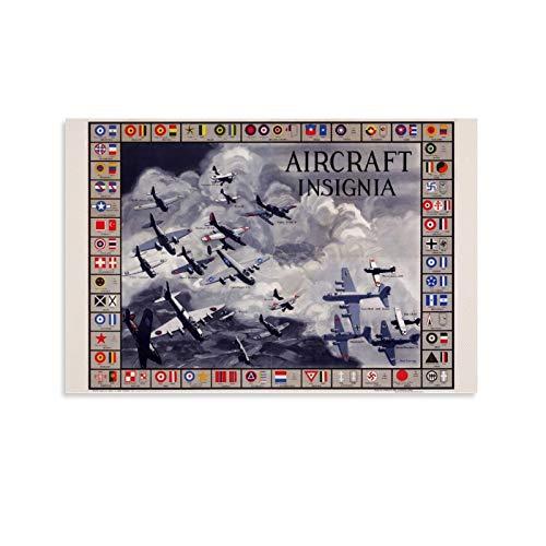 LAJITONG Cartas De Aviones De La Segunda Guerra Mundial - Lienzo decorativo para pared (60 x 90 cm)