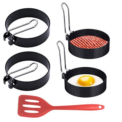 LATTCURE 4 Stück Edelstahl Egg Ring, Spiegeleierformen für Die Pfanne Ei Ringe Pfannkuchen Form und Antihaftbeschichtung, Pancake Form Kochzubehör Silikonschaufel