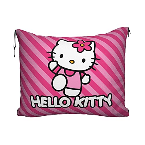 Cartoon Anime Lindo Hello Kitty Pint Strip Line Travel Pillow Manta Portátil Viaje 2 en 1 Manta Avión Mantas Super Softs Acogedor