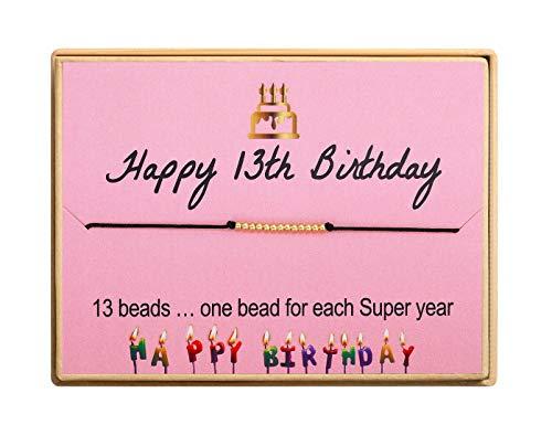 13th Birthday Gift for Girl S925 Sterling Silver 18k Real Gold Plated Bead Bracelet Birthday Bracelet