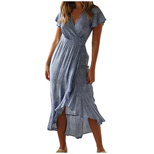 HSMQ Dresses for Women Summer Bohemian Floral Printed Dress V Neck Split Beach Party Dress Blue