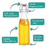Praknu 6 Glasflaschen mit Bügelverschluss 500ml - 6 Extra Dichtungen und 12 Etiketten mit Stift - 4