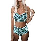 Tefamore Femmes rembourré Push-up Soutien-Gorge Taille Hight Ensemble Bikini Maillot de Bain de Bain Maillots de Bain Suit(Menthe Verte,Medium)