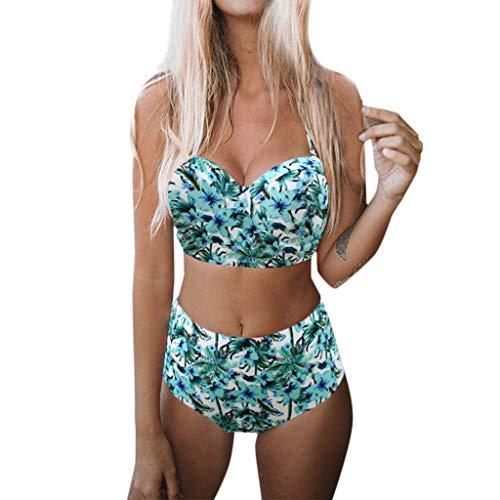 MIRRAY Damen Bikini Set High Waist Bademode Zweiteilige Strandbekleidung Badeanzug Neckholder Bikini Oberteil und Bikinihose Mit Blumen Bedruckt