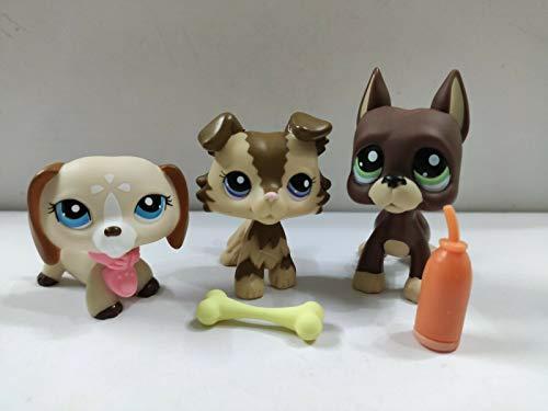 Pet Shop 3pcs/Lot Littlest LPS Great Dane Collie dashchund Dogs Kid Toy Gift